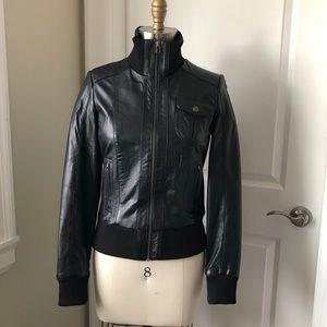 Danier Leather Moto Biker Ribbed Jacket Black